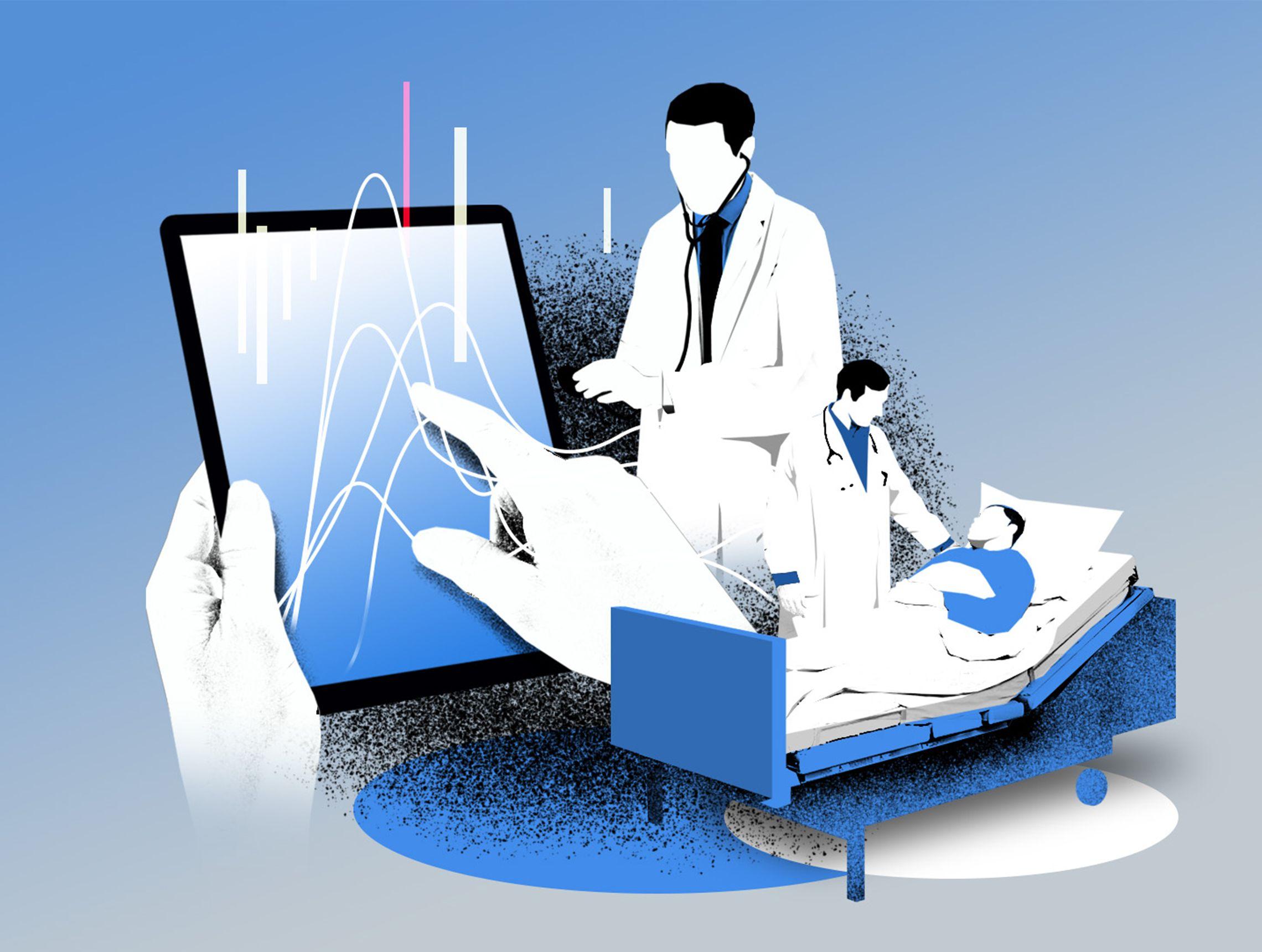 Aerzte mit Patient im Bett und Haende halten Tablet