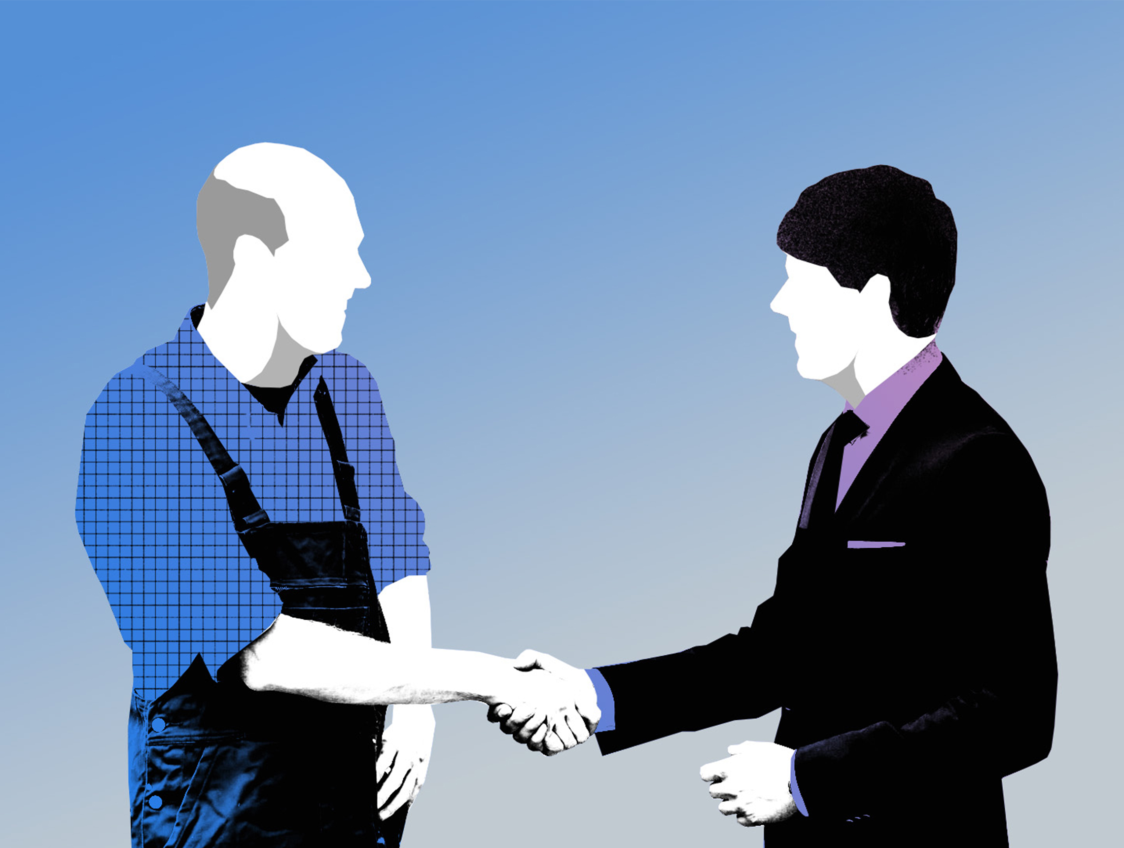 Anwalt schuettelt Hand mit Handwerker