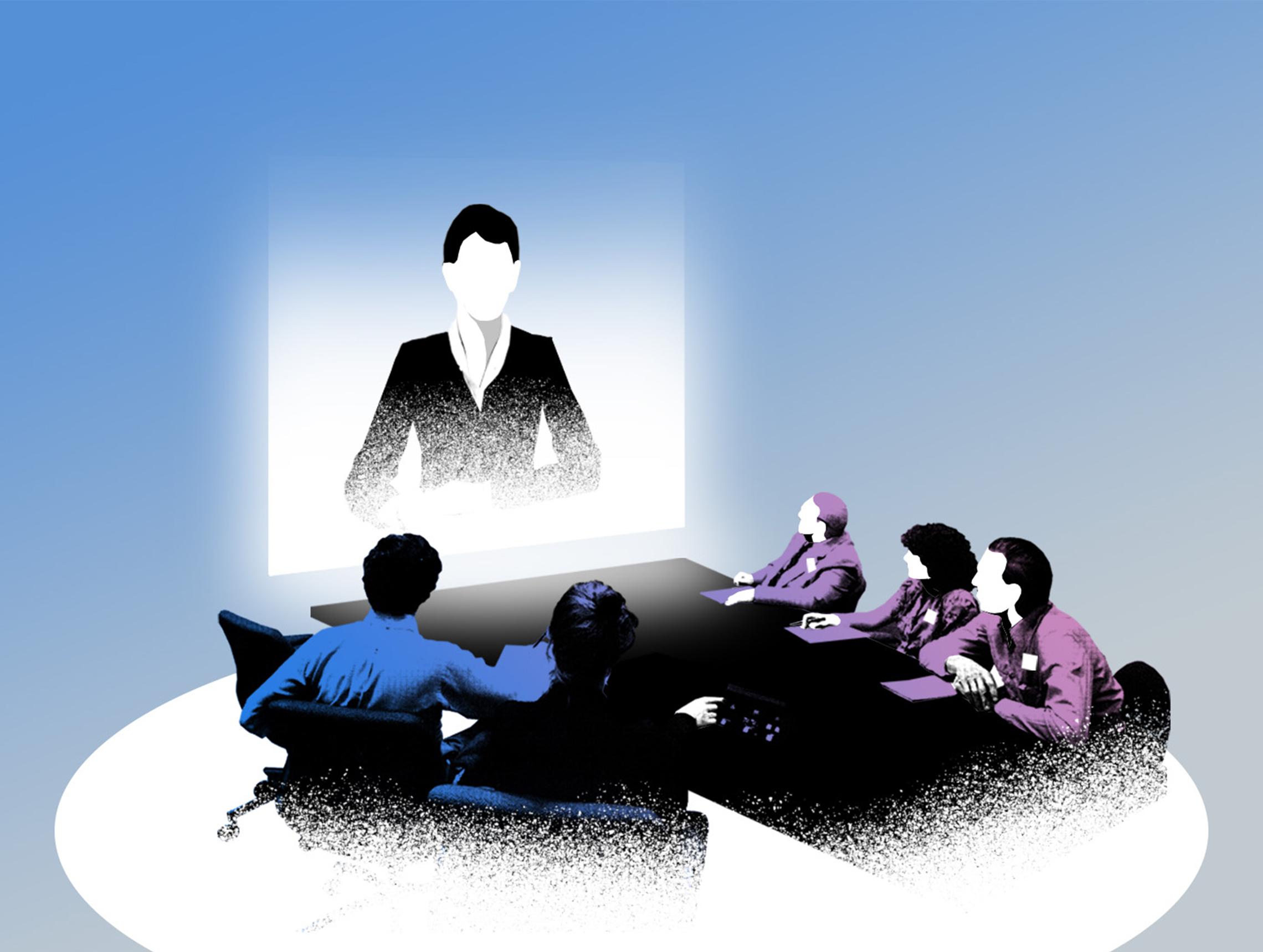 Personen blicken auf Uebertragung einer Videokonferenz