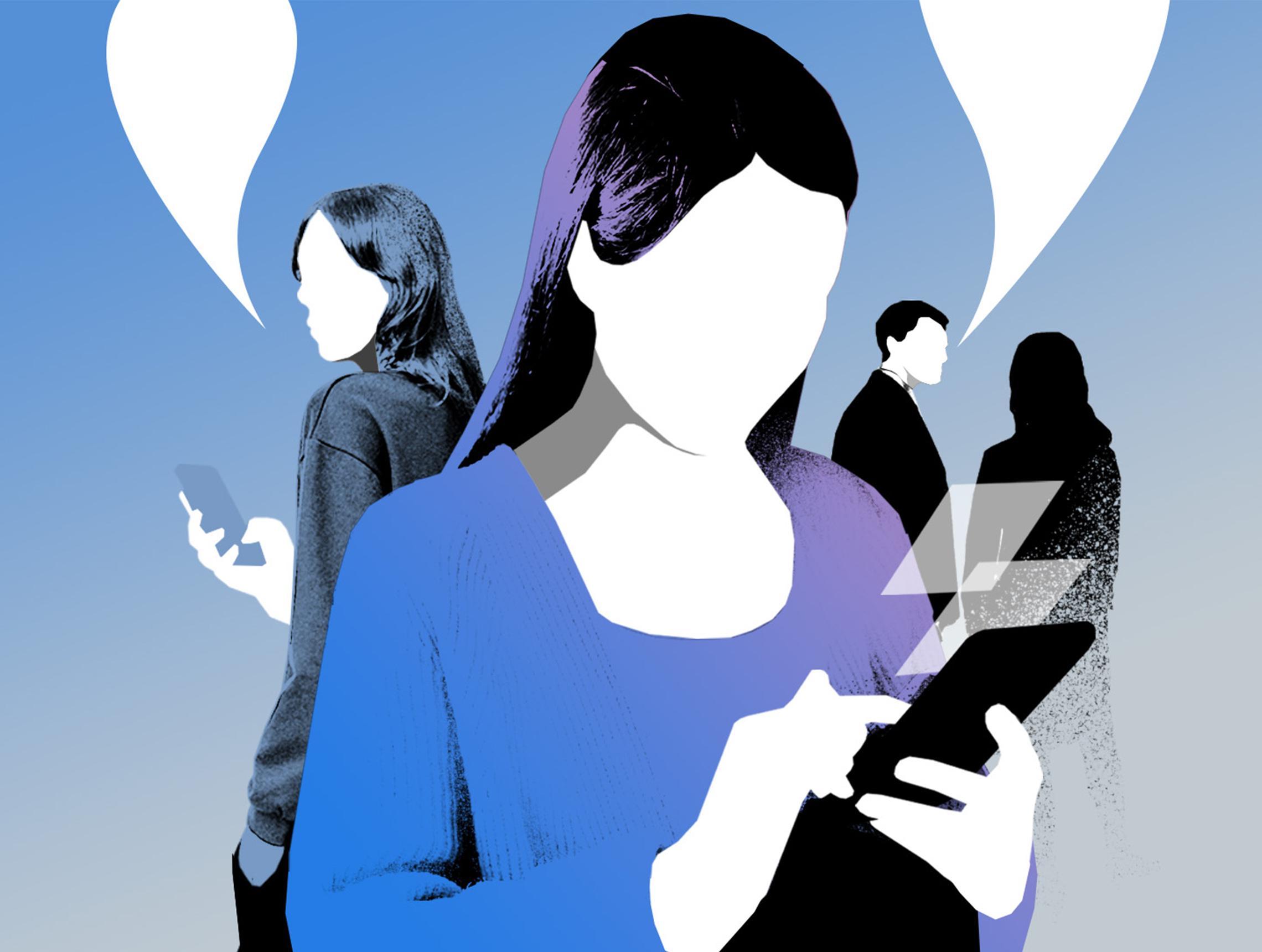 Personen in Gespraechssituation mit Smartphones
