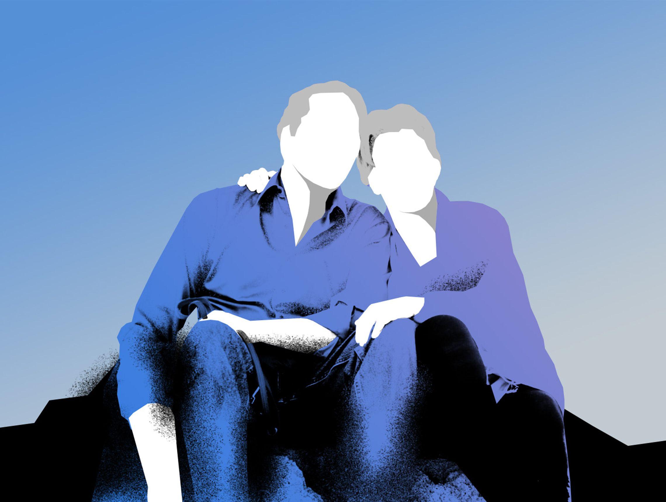 Älteres Pärchen sitzen Arm in Arm mit dem Blick zum Himmel gerichtet PWWL Illustration