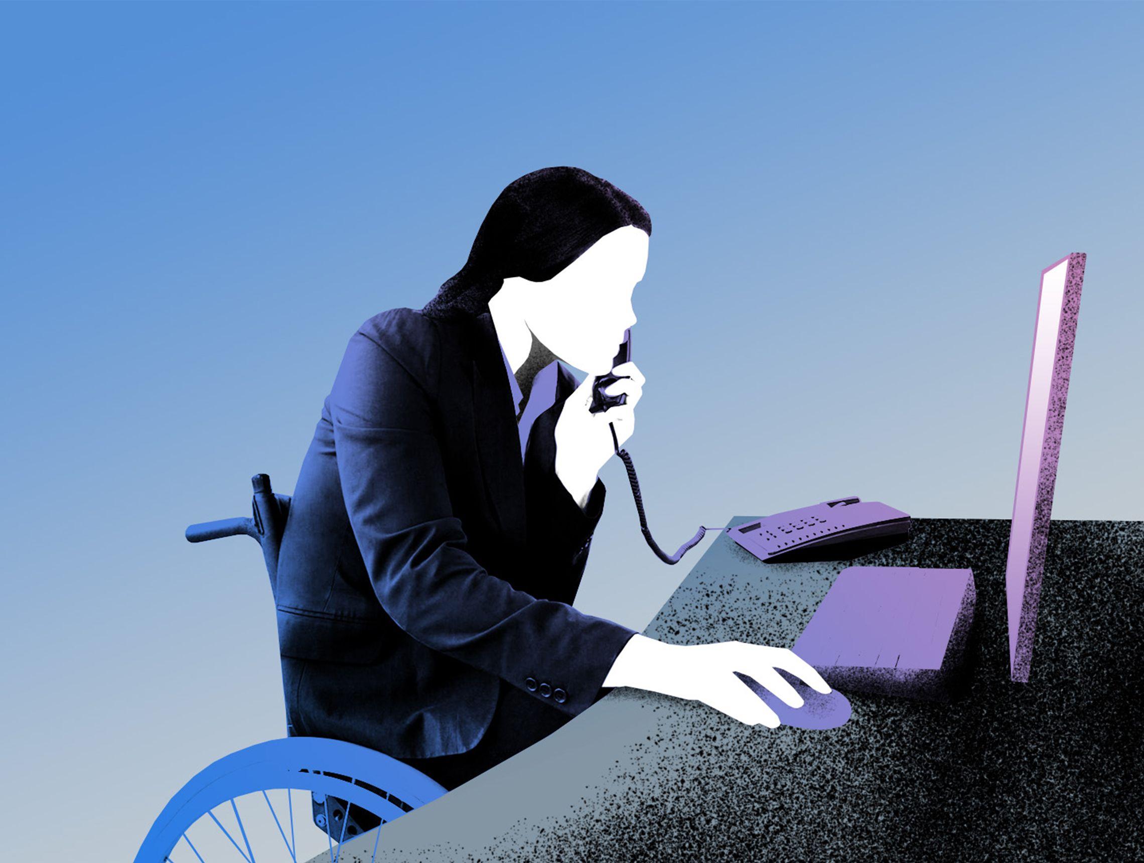 Frau im Rollstuhl sitzt am Schreibtisch und telefoniert mit Blick auf Computerbildschirm PWWL Illustration