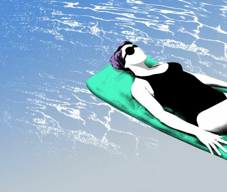 Frau mit Sonnenbrille liegt auf einer Luftmatratze auf dem Wasser PWWL Illustration