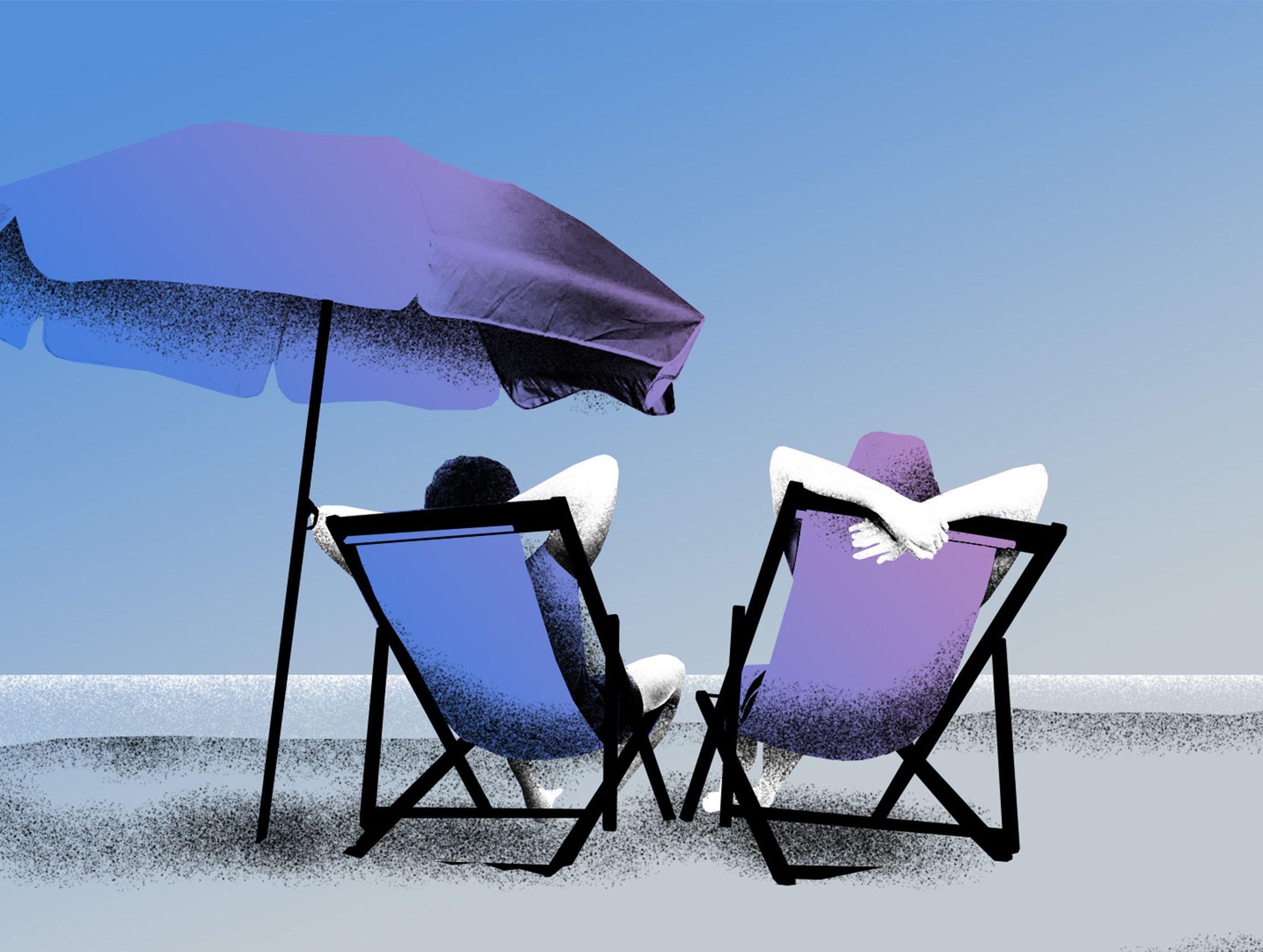 Zwei Personen entspannen sich in Sonnenstühlen am Strand PWWL Illustration